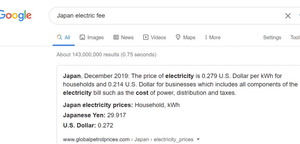 Japan electric fee