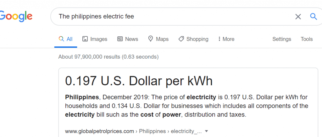The Philippines electric fee