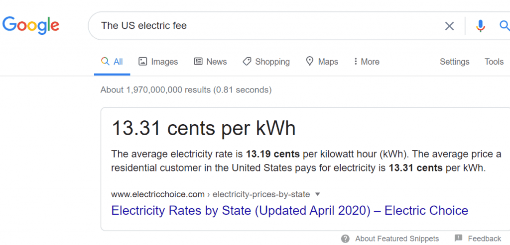 The US electric fee